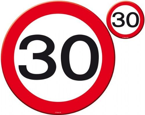 Traffic Sign 30th Party Place Mat & Coasters Birthday Tableware Table Disposable